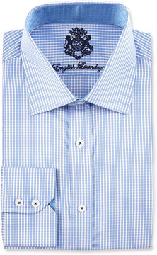 English Laundry Checked Long-Sleeve Dress Shirt, Blue