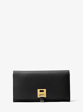 Michael Kors Bancroft Calf Leather Continental Wallet - BLACK - STYLE