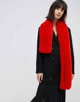 Asos Faux Fur Bright Red Scarf