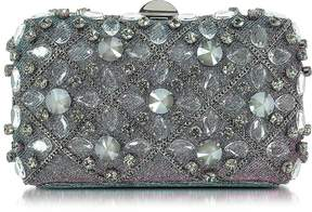Rodo Iridescent Lurex Tresor Clutch w/Crystals and Chains