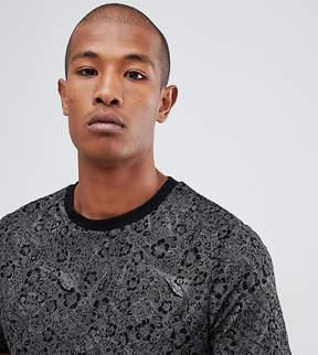 Reclaimed Vintage Inspired Ringer T-Shirt In Black Floral Print With Glitter Stripe
