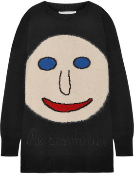 Christopher Kane Oversized Intarsia Wool-blend Sweater - Black