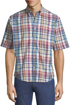 Neiman Marcus Classic Fit Non-Iron Wear-it-Out Slub Plaid Sport Shirt