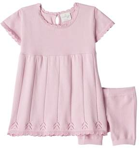Cuddl Duds Baby Girl Pointelle Knit Dress & Knit Bloomer Set