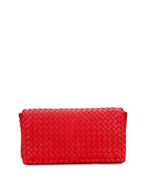 Bottega Veneta Small Intrecciato Flap Convertible Clutch Bag, Red