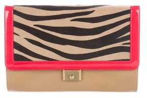 Jimmy Choo Ponyhair-Accented Leather Clutch
