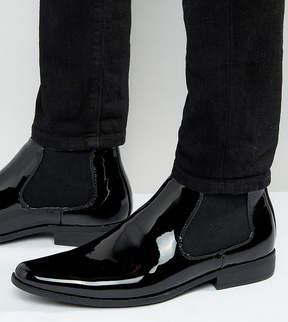 Asos Wide Fit Chelsea Boots In Black Patent