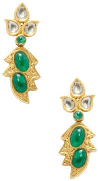 Amrapali Women's 18K Yellow Gold, Emerald & 0.32 Total Ct. Diamond Drop Earrings