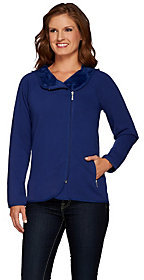 Denim & Co. As Is Jersey Asymmetric Zip Front Jacket w/ Fleece Lining
