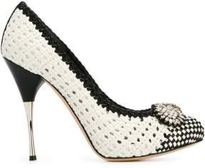 Alexander McQueen embellished woven pumps