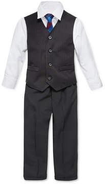 Nautica Little Boys' 4-Piece Tie, White Shirt, Pinstripe Vest, Black Pant Vest Set. Little Boys (4-7)
