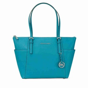 Michael Kors Jet Set Saffiano Leather Tote- Peacock - PEACOCK - STYLE