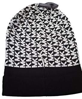 Michael Kors Knit Beanie Initial Black/White