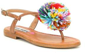Steve Madden Girls' Jcherry Multi Color Pom Detail Sandals
