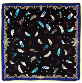 Aspinal of London Feather Silk Scarf In Blue Black
