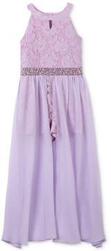 Speechless Glitter Lace Maxi Overlay Romper, Little Girls