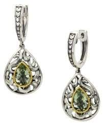 Effy Green Amethyst, Sterling Silver and 18K Yellow Gold Drop Earrings