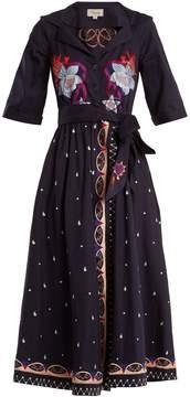 Temperley London Divine floral-embroidered tie-waist cotton dress