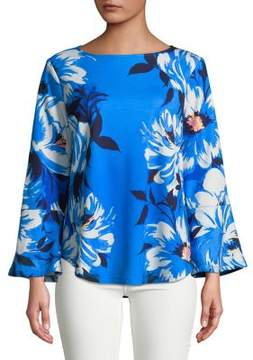 Isaac Mizrahi IMNYC Bateau Neck Full Sleeve Top with Flounce Shirtail Hem