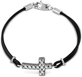 Effy Black Leather Cross Bracelet in Sterling Silver