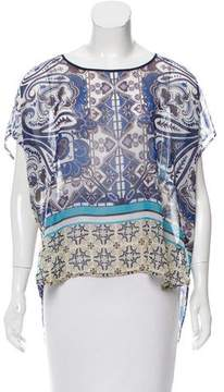 Clover Canyon Abstract Printed Short Sleeve Top