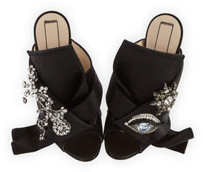 No.21 No. 21 Jeweled Satin 100mm Mule Sandals, Black