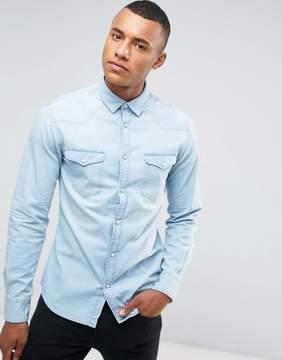 Celio Denim Shirt In Bleached Blue