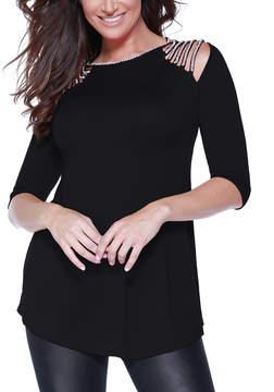 Belldini Black Strappy Embellished-Shoulder Top - Women