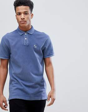 Abercrombie & Fitch Throwback Core Washed Out Polo Moose Icon Logo in Medium Blue