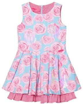 Lelli Kelly Kids Pink and Aqua Rose Print Dress
