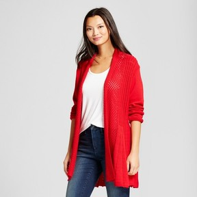 Notations Women's Textured Open Cardigan with Shawl Neck Red
