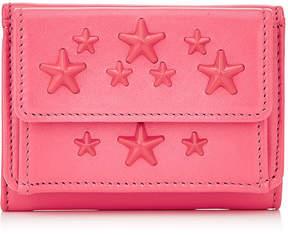 Jimmy Choo NEMO Flamingo Leather Small Wallet with Enamel Stars