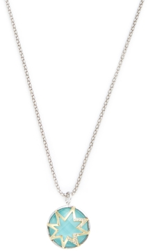 Elizabeth Showers Women's Medium Hope Star Decoder Silver, Turquoise Doublet & 0.08 Total Ct. Diamond Pendant Necklace