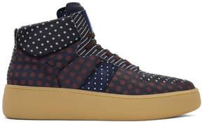 Maison Margiela Navy Mixed Print Sneakers