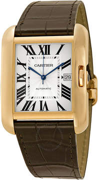 Cartier Tank Anglaise Silver Dial 18kt Rose Gold Brown Leather Men's Watch