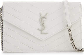 Saint Laurent Monogram quilted envelope clutch bag - WHITE - STYLE