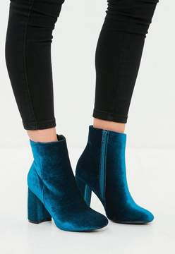 Missguided Blue Velvet Round Toe Ankle Boots