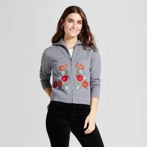 Cliche Women's Embroidered Cardigan Sweater Gray