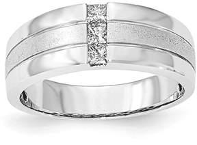 Ice 14K White Gold Men's Diamond Polished & Satin Ring