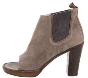 Brunello Cucinelli Leather Peep-Toe Booties w/ Tags