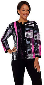 Bob Mackie Bob Mackie's Printed Knit Cardigan
