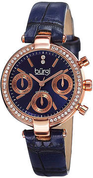 Burgi Womens Diamond Accent Rose-Tone Blue Strap Watch