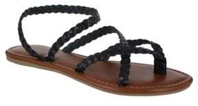 Mia Braided Leather Strappy Flat Sandals