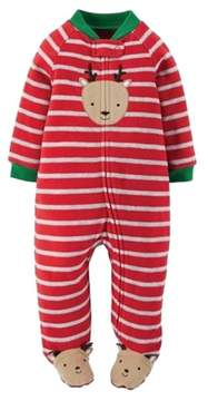 Carter's Infant Boy Red Stripe Fleece Christmas Reindeer Pajama Sleeper NB