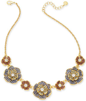 Charter Club Gold-Tone Multi-Stone Flower Statement Necklace, 17 + 2 extender, Created for Macy's