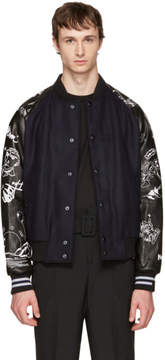 Lanvin Navy and Black Arrow Skeleton Bomber Jacket