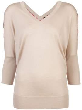 Derek Lam Batwing Sweater With Printed Silk Back