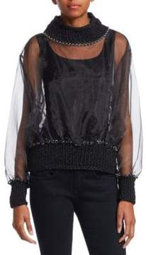 Noir Kei Ninomiya Knit Chainstitch Organza Sweater