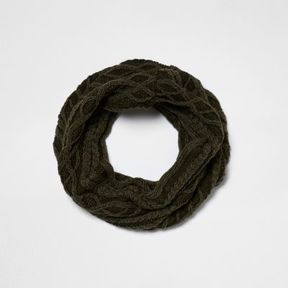 River Island Boys khaki green washed cable knit snood