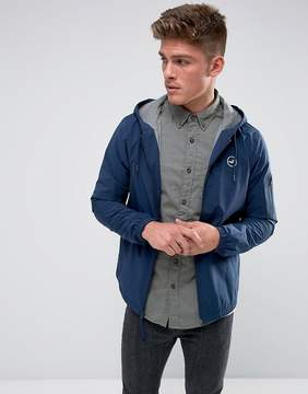 Hollister Windbreaker Jacket Jersey Lined in Navy